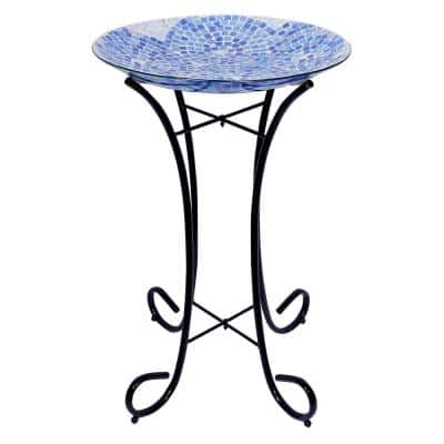 24 in. Tall Outdoor Mosaic Style Glass Birdbath Bowl with Metal Stand, Blue
