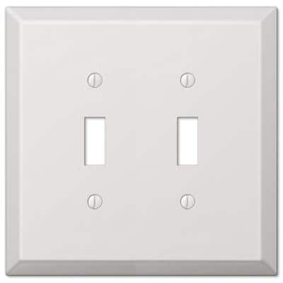 Oversized 2 Gang Toggle Steel Wall Plate - White