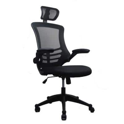 26.5 in. Width Big and Tall Black Fabric Ergonomic Chair with Adjustable Height
