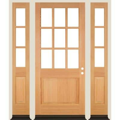 36 in. x 96 in. 9-Lite with Beveled Glass Left Hand Unfinished Douglas Fir Prehung Front Door Double Sidelite
