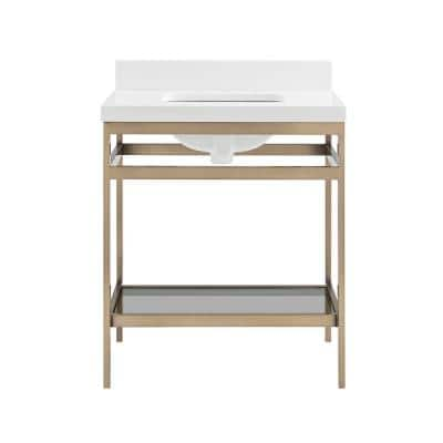Melton 30 in. W x 21 in. D Bath Vanity in Champagne Bronze with Engineered Vanity Top in White with White Basin