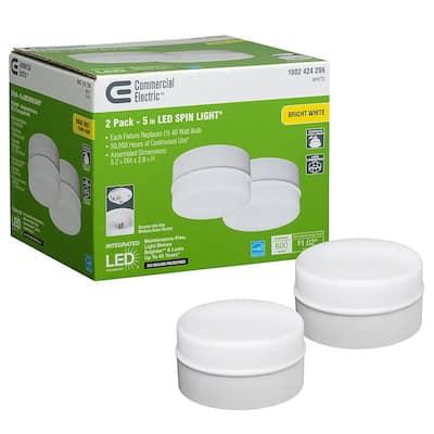 Spin Light 5 in. White LED Flush Mount Ceiling Light 600 Lumens 4000K Bright White Closet Basement Utility (2 Pack)