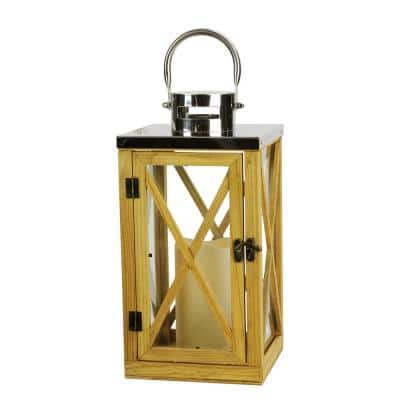 13.5 in. Rustic Wood and Stainless Steel Lantern with LED Flameless Pillar Candle with Timer