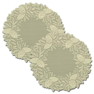 Highland Pine 20 in. Ivory Doily/Charger (Set of 2)