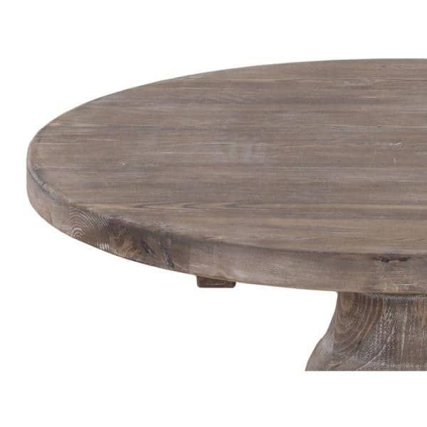 Benjara 34 In Brown Medium Round Wood Coffee Table With Pedestal Base Bm195716 The Home Depot