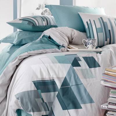 Light Gray Cubes Duvet Cover Set : Teal, Full Size Duvet Cover, 1 Duvet Cover, 1 Fitted Sheet and 2 Pillowcases