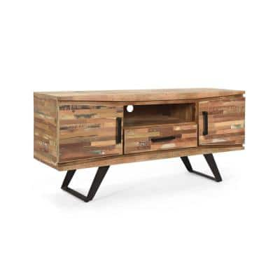 Antwerp 51 in. Natural TV Stand with 1 Drawer Fits TV's up to 58 in. with Shelves