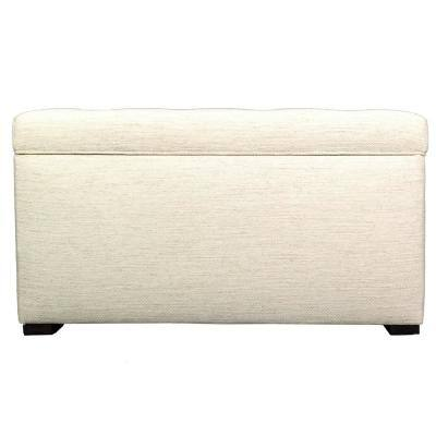 Angela Belfast Ivory Button Tufted Upholstered Storage Trunk