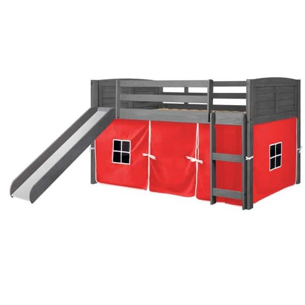 Donco Kids Antique Grey Twin Louver Low Loft Bed with Slide and Red Tent Kit   The Home Depot