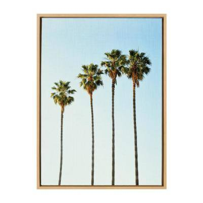 "Sylvie ""Four Palm Trees"" by Simon Te of Tai Prints Framed Canvas Nature Wall Art 33 in. x 23 in."