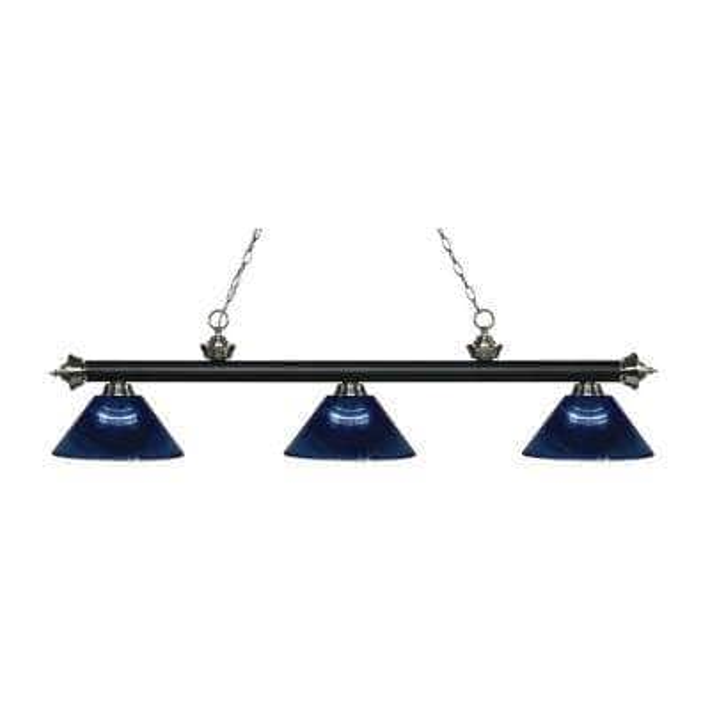Kirik 3-Light Matte Black and Brushed Nickel Island Light with Dark Blue Shades