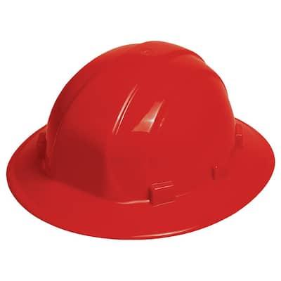 Omega II 6 Point Nylon Suspension Slide-Lock Full Brim Hard Hat in Red