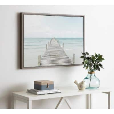 """Sylvie """"Wooden Pier on the Beach"""" by Amy Peterson Framed Canvas Wall Art"""