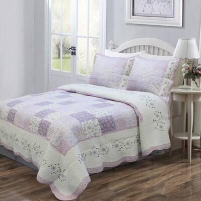 Love of Lilac 3-Piece Lavender Floral Orchid Square Patchwork Ruffle Purple Cotton Queen Quilt Bedding Set