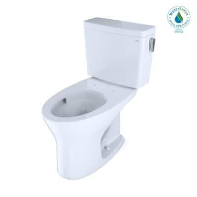 Drake 10 in. Rough-In 2-Piece 0.8/1.28 GPF Dual Flush Elongated Toilet with RH Lever in Cotton White, Seat Not Included