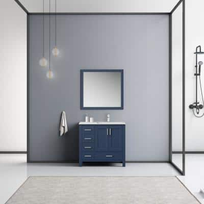 Jacques 36 in. W x 22 in. D x 34 in. H Single Sink Bath Vanity in Navy Blue with White Marble Top and Mirror