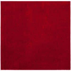 Arizona Shag Red 7 ft. x 7 ft. Square Solid Area Rug