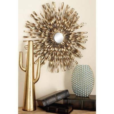 27 in. x 27 in. Gold Metal Modern Wall Decor (Set of 3)