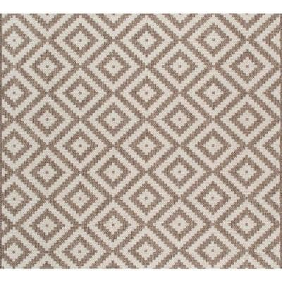 Marybelle Tribal Diamond Beige 8 ft. x 8 ft. Indoor/Outdoor Square Rug