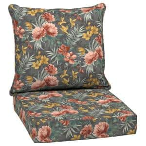 24 in. x 22.5 in. Phoebe Floral 2-Piece Outdoor Deep Seating Lounge Chair Cushion