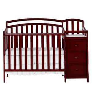 Casco 4-in-1 Cherry Mini Crib and Changing Table