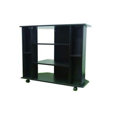 35 in. Black Particle Board TV Stand Fits TVs Up to 42 in. with Wheels