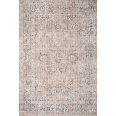 Skye Blush/Grey 7 ft. 6 in. x 9 ft. 6 in. Traditional Polyester Pile Runner Rug