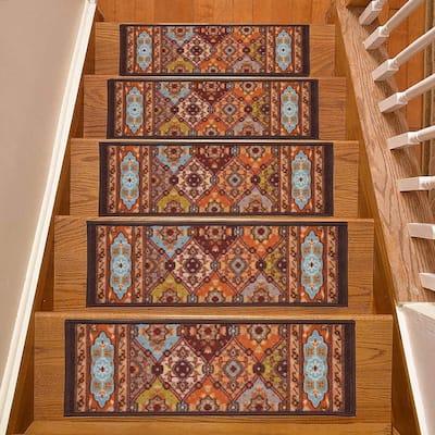 Indoor Bakhtiari  Design Multi 8-1/2 in. x 26 in. Slip Resistant Backing Stair Tread Cover (Set of 15)