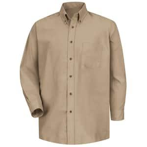 Men's Size 36/37 (Tall) Khaki Poplin Dress Shirt
