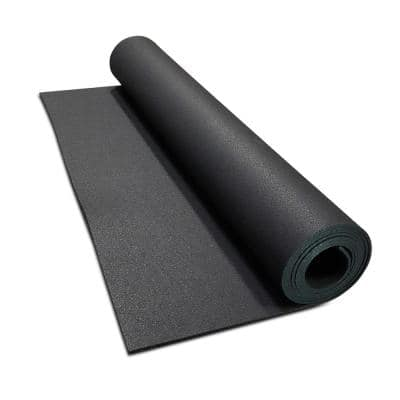 Isometric Black 48 in. W x 120 in. L x 0.25 in. T Rubber Gym/Weight Room Flooring Rolls (40 sq. ft.)