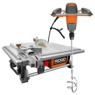 6.5 Amp Corded 7 in. Table Top Wet Tile Saw with Single-Paddle Mixer
