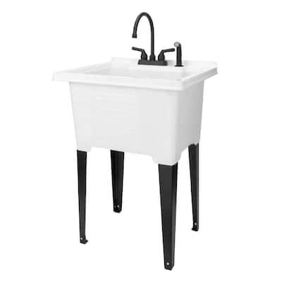 25 in. x 21.5 in. ABS Plastic Freestanding Utility Sink in White - Matte Black Gooseneck Faucet, Side Sprayer