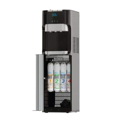 Hot Cold and Room Temp Filtered Water Dispenser Cooler POU, Tri-Temp, Black and Brush Stainless Steel, Essential Series