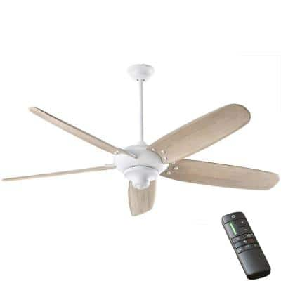 Altura DC 68 in. Indoor Matte White Dry Rated Ceiling Fan with Downrod, Remote Control and DC Motor