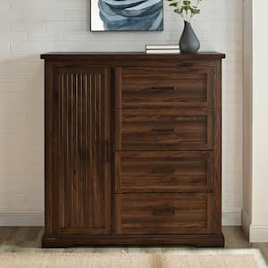 45 in. W. Dark Walnut Wood 4-Drawer and 1-Cabinet Transitional Wardrobe