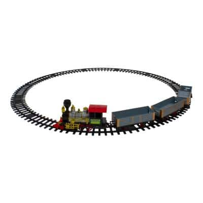 20-Piece Battery Operated Red and Gold Animated Classic Christmas Train Set with Sound