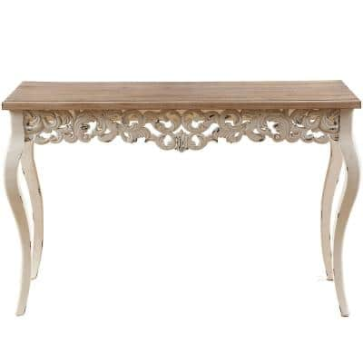 47 in. Brown/White Standard Rectangle Wood Console Table
