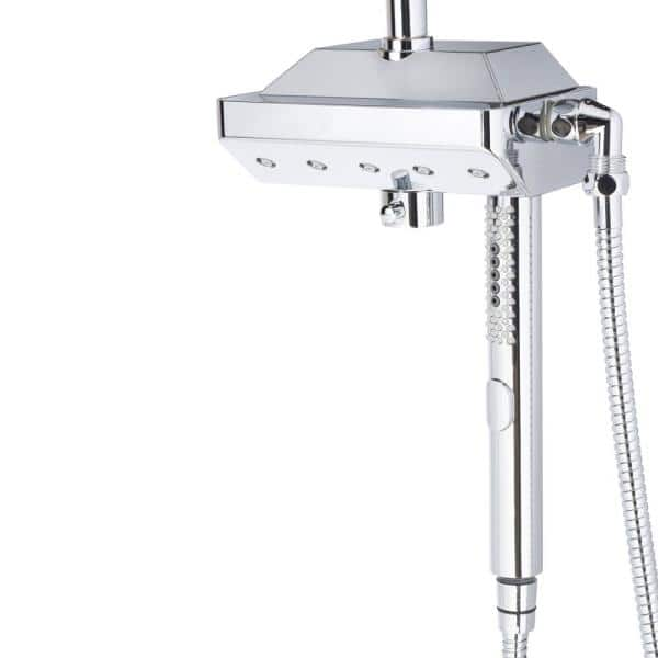 Pulse Showerspas 5 Spray 12 In Dual Shower Head And Handheld Shower Head With Body Spray In Chrome 1054 Ch The Home Depot