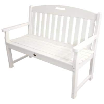 Yacht Club 48 in. Classic White Plastic Patio Bench