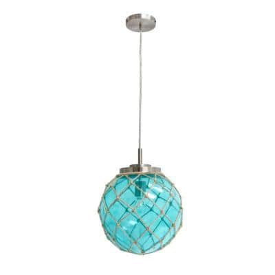 Antique Blue and Clear Glass Ornate Round Circular fixture Glass pendant light Fixture