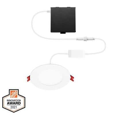 4 in. Smart Hubspace Selectable CCT Ultra Slim Integrated LED Recessed Light Kit Compatible w/ Google Home and Alexa