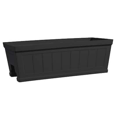 Hanover 27 in. Black Beadboard Resin Deck Rail Planter