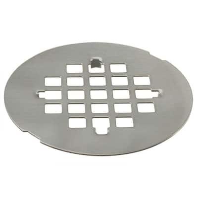 4-1/4 in. Brass Snap-In Shower Strainer Grid in Satin Nickel