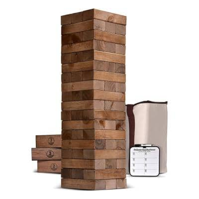 Giant 5 ft. Wooden Toppling Tower Outdoor Backyard Lawn Game, Brown