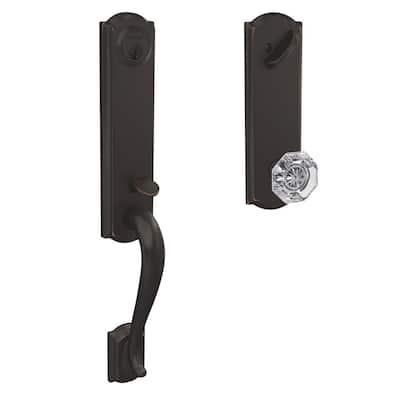Custom Camelot Aged Bronze 3/4 Trim Single Cylinder Door Handleset with Alexandria Glass Door Knob