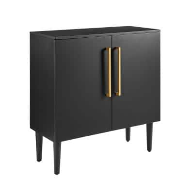 Everett 31 in. Matte Black Standard Rectangle Composite Console Table with Cabinet