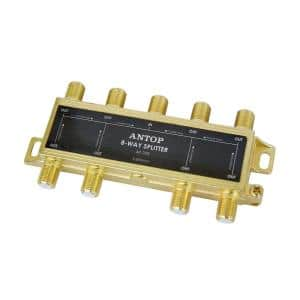 8-Way 2GHz 5-2050MHz Low Loss RF Splitter for TV Satellite Cable All Ports DC Power