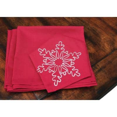 20 in. x 20 in. Snowy Noel Embroidered Snowflake Christmas Napkins in Red and White (4-Set)