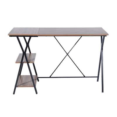 Modern L-Shaped 47.2in Long Desk Corner Computer Desk Study Writing Table Workstation with Shelves, Brown