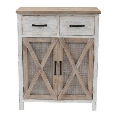 31.5 in. H Rustic Wood Barn Door Storage Cabinet